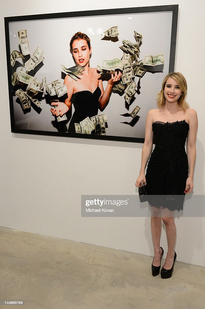 Actress <a gi-track='captionPersonalityLinkClicked' href=/galleries/search?phrase=Emma+Roberts&family=editorial&specificpeople=226535 ng-click='$event.stopPropagation()'>Emma Roberts</a> attends Tyler Shields debut of MOUTHFUL presented by A/X Armani Exchange in support of LOVE IS LOUDER at a Private Studio on May 19, 2012 in Los Angeles, California.