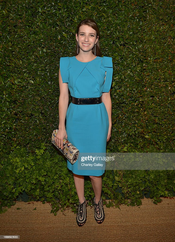 Actress <a gi-track='captionPersonalityLinkClicked' href=/galleries/search?phrase=Emma+Roberts&family=editorial&specificpeople=226535 ng-click='$event.stopPropagation()'>Emma Roberts</a> attends Vogue and MAC Cosmetics dinner hosted by Lisa Love and John Demsey in honor of Prabal Gurung at the Chateau Marmont on Monday, May 13, 2013 in Los Angeles, California.