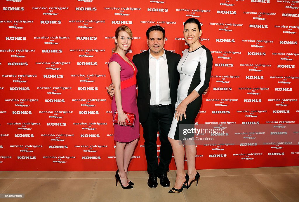 Actress <a gi-track='captionPersonalityLinkClicked' href=/galleries/search?phrase=Emma+Roberts&family=editorial&specificpeople=226535 ng-click='$event.stopPropagation()'>Emma Roberts</a>, designer Narciso Rodriguez and actress <a gi-track='captionPersonalityLinkClicked' href=/galleries/search?phrase=Julianna+Margulies&family=editorial&specificpeople=208994 ng-click='$event.stopPropagation()'>Julianna Margulies</a> attend Narciso Rodriguez Kohl's Collection Launch Party at IAC Building on October 22, 2012 in New York City.
