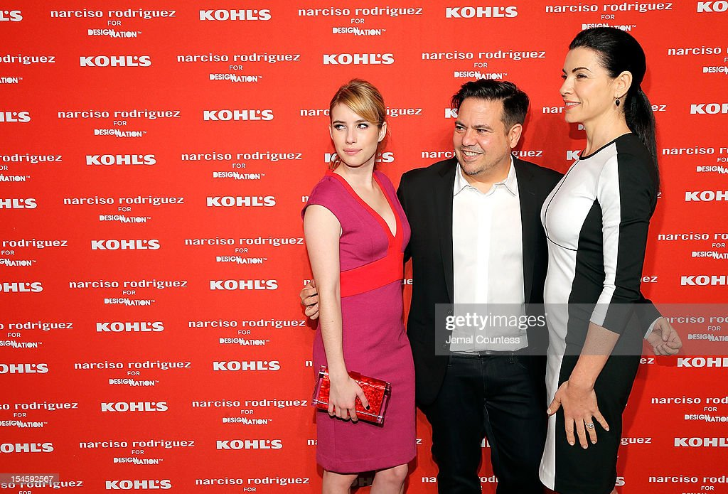 Actress Emma Roberts, designer Narciso Rodriguez and actress Julianna Margulies attend Narciso Rodriguez Kohl's Collection Launch Party at IAC Building on October 22, 2012 in New York City.