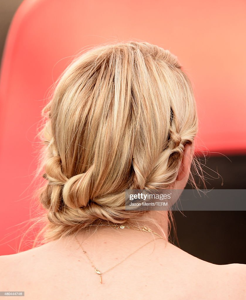 Actress Emma Roberts hair detail of the show 'Scream Queens' visits the Scream Queens Mega Drop Ride during ComicCon International 2015 at PETCO Park...