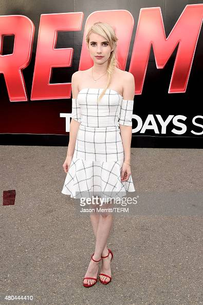 Actress Emma Roberts of the show 'Scream Queens' visits the Scream Queens Mega Drop Ride during ComicCon International 2015 at PETCO Park on July 11...