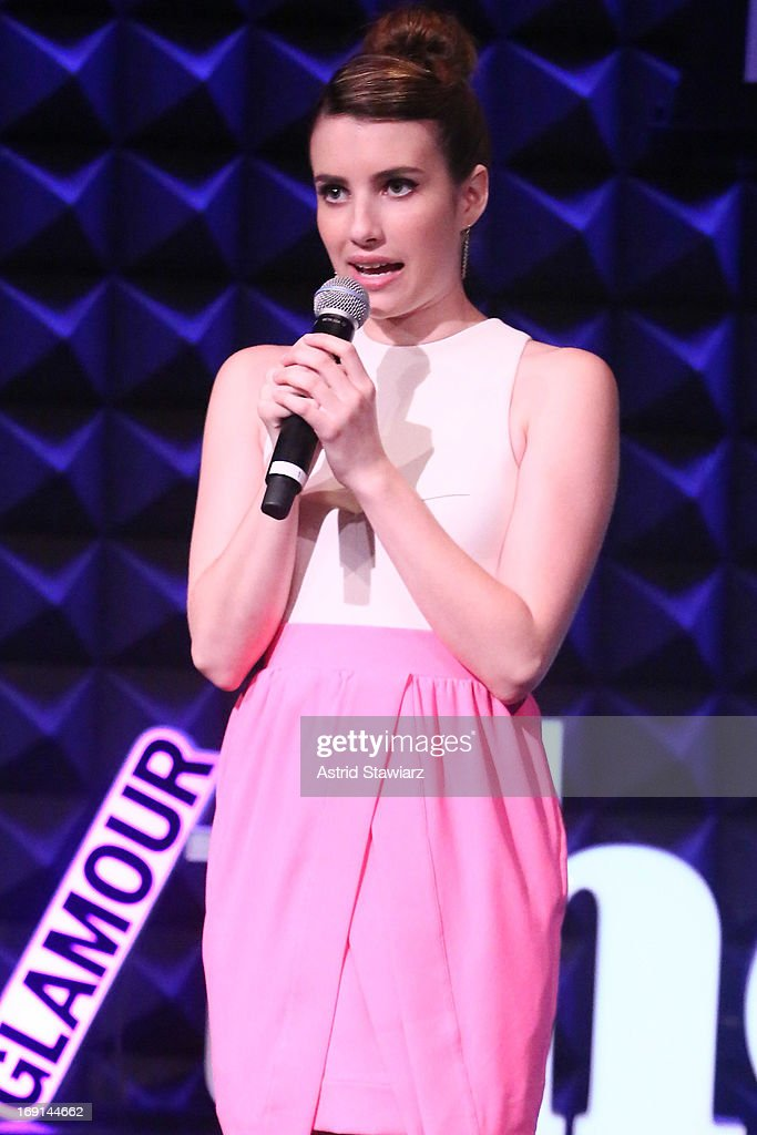 Actress <a gi-track='captionPersonalityLinkClicked' href=/galleries/search?phrase=Emma+Roberts&family=editorial&specificpeople=226535 ng-click='$event.stopPropagation()'>Emma Roberts</a> performs at Glamour's presentation of 'These Girls' at Joe's Pub on May 20, 2013 in New York City.