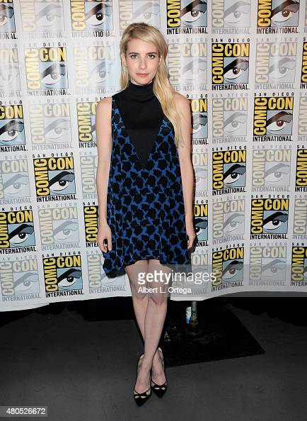 Actress Emma Roberts poses at the 'American Horror Story' and 'Scream Queens' panel during ComicCon International 2015 at the San Diego Convention...