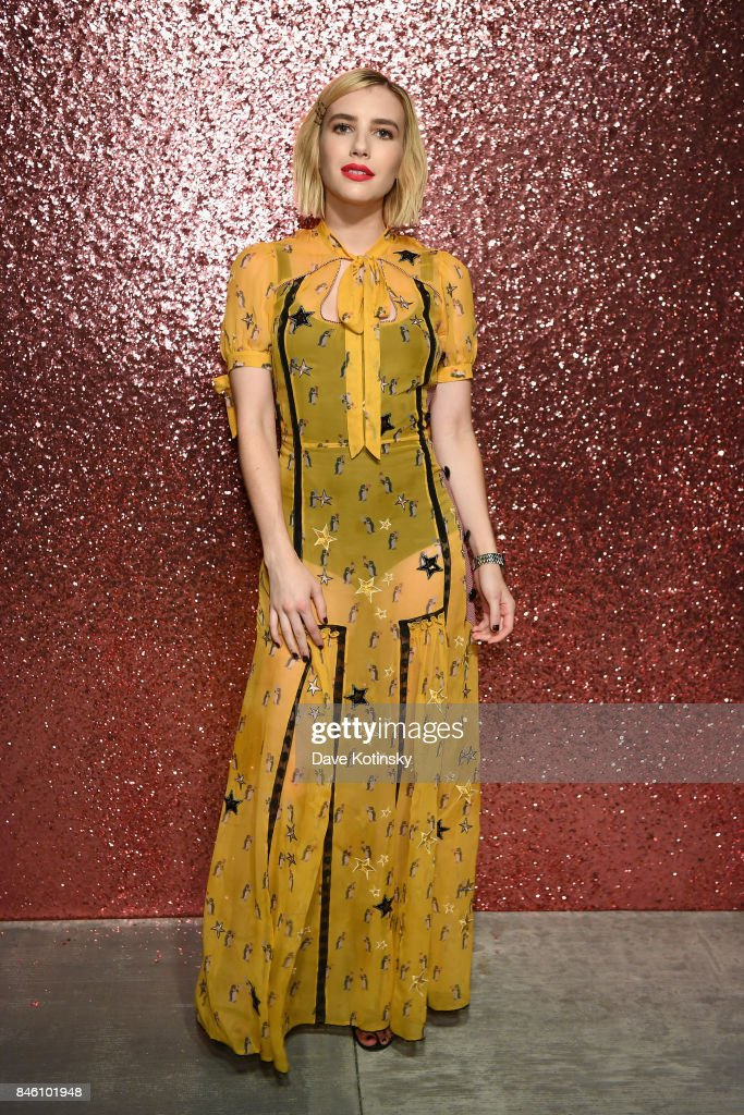 Actress Emma Roberts poses for a portrait during Coach Spring 2018 Fashion Show during New York Fashion Week at Basketball City - Pier 36 - South Street on September 12, 2017 in New York City.