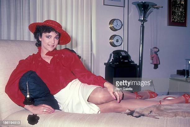 Actress Emma Samms gives an exclusive photo session on June 2 1983 at Emma Samms' home in Beverly Hills California