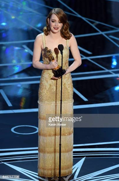 Actress Emma Stone accepts Best Actress for 'La La Land' onstage during the 89th Annual Academy Awards at Hollywood Highland Center on February 26...