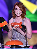 Actress Emma Stone accepts the Favorite Movie Actress award for 'The Amazing SpiderMan 2' onstage during Nickelodeon's 28th Annual Kids' Choice...