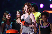 Actress Emma Stone accepts the Favorite Movie Actress award for 'The Amazing SpiderMan 2' onstage during the Nickelodeon's 28th Annual Kids' Choice...