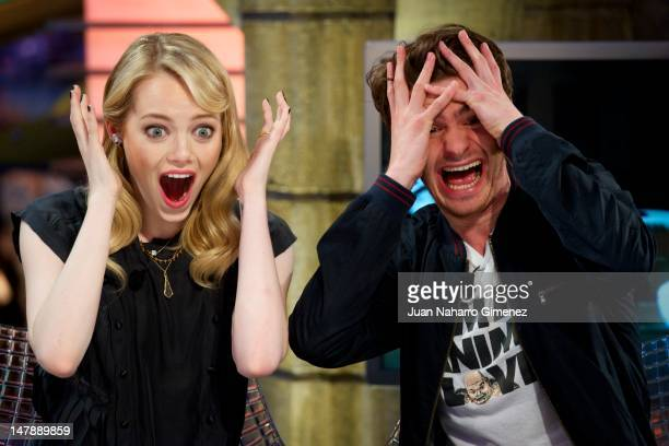 Actress Emma Stone and actor Andrew Garfield attend 'El Hormiguero' Tv show at Vertice Studio on July 5 2012 in Madrid Spain
