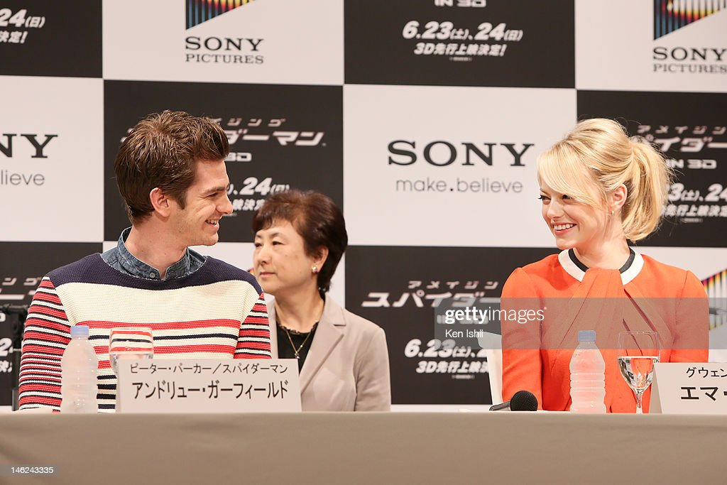 Actress Emma Stone and Actor Andrew Garfield attends 'The Amazing Spider-Man' press conference at Roppongi on June 13, 2012 in Tokyo, Japan. The film will open on June 30, 2012 in Japan.