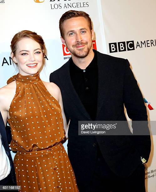 Actress Emma Stone and actor Ryan Gosling attend The BAFTA Tea Party at Four Seasons Hotel Los Angeles at Beverly Hills on January 7 2017 in Los...