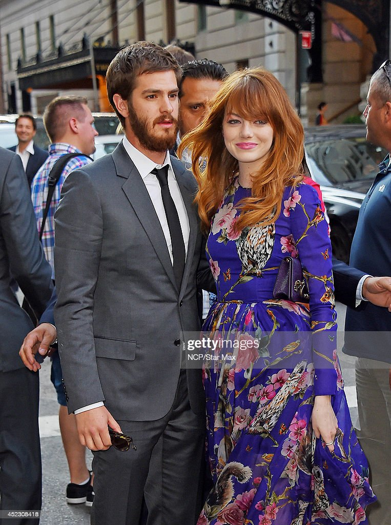 Actress <a gi-track='captionPersonalityLinkClicked' href=/galleries/search?phrase=Emma+Stone&family=editorial&specificpeople=672023 ng-click='$event.stopPropagation()'>Emma Stone</a> and <a gi-track='captionPersonalityLinkClicked' href=/galleries/search?phrase=Andrew+Garfield&family=editorial&specificpeople=4047840 ng-click='$event.stopPropagation()'>Andrew Garfield</a> are seen on July 17, 2014 in New York City.