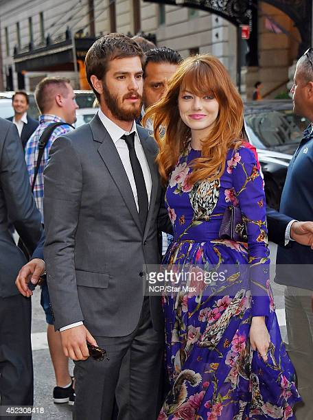 Actress Emma Stone and Andrew Garfield are seen on July 17 2014 in New York City