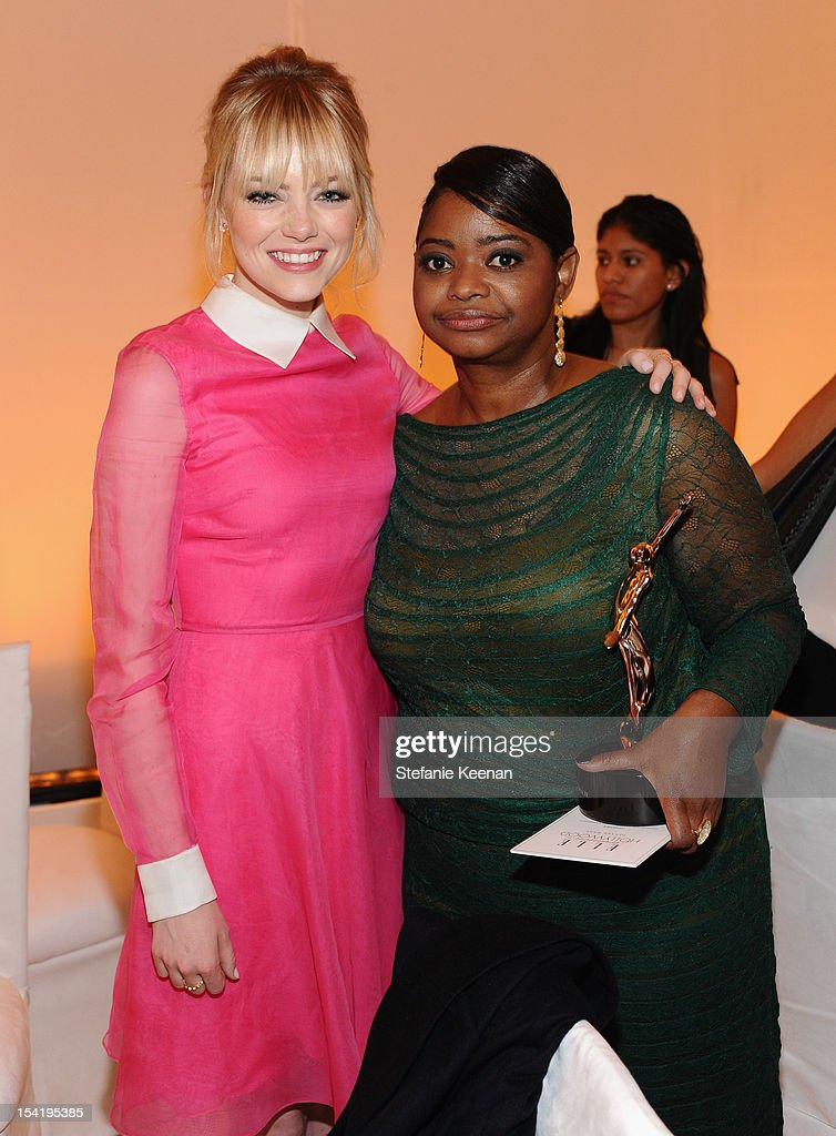 Actress <a gi-track='captionPersonalityLinkClicked' href=/galleries/search?phrase=Emma+Stone&family=editorial&specificpeople=672023 ng-click='$event.stopPropagation()'>Emma Stone</a> and honoree <a gi-track='captionPersonalityLinkClicked' href=/galleries/search?phrase=Octavia+Spencer&family=editorial&specificpeople=2538115 ng-click='$event.stopPropagation()'>Octavia Spencer</a> attend ELLE's 19th Annual Women In Hollywood Celebration at the Four Seasons Hotel on October 15, 2012 in Beverly Hills, California.