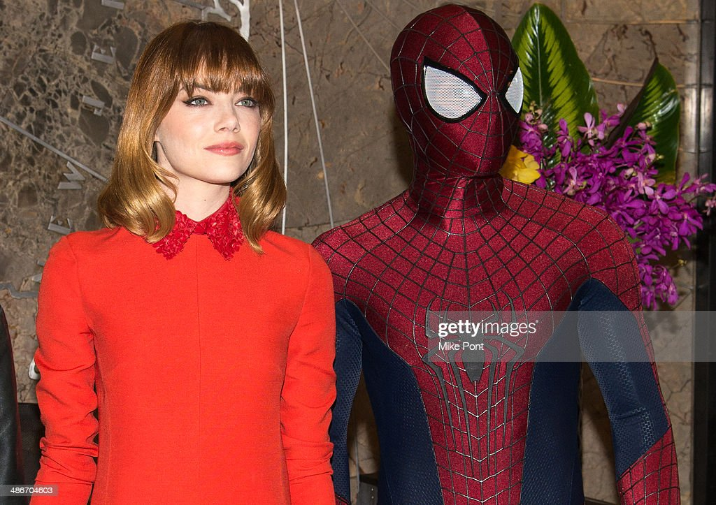 Actress <a gi-track='captionPersonalityLinkClicked' href=/galleries/search?phrase=Emma+Stone&family=editorial&specificpeople=672023 ng-click='$event.stopPropagation()'>Emma Stone</a> and Spiderman visit The Empire State Building on April 25, 2014 in New York City.