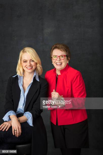 Actress Emma Stone and tennis player Billie Jean King are photographed for Sports Illustrated on September 9 2017 at BJK National Tennis Center...