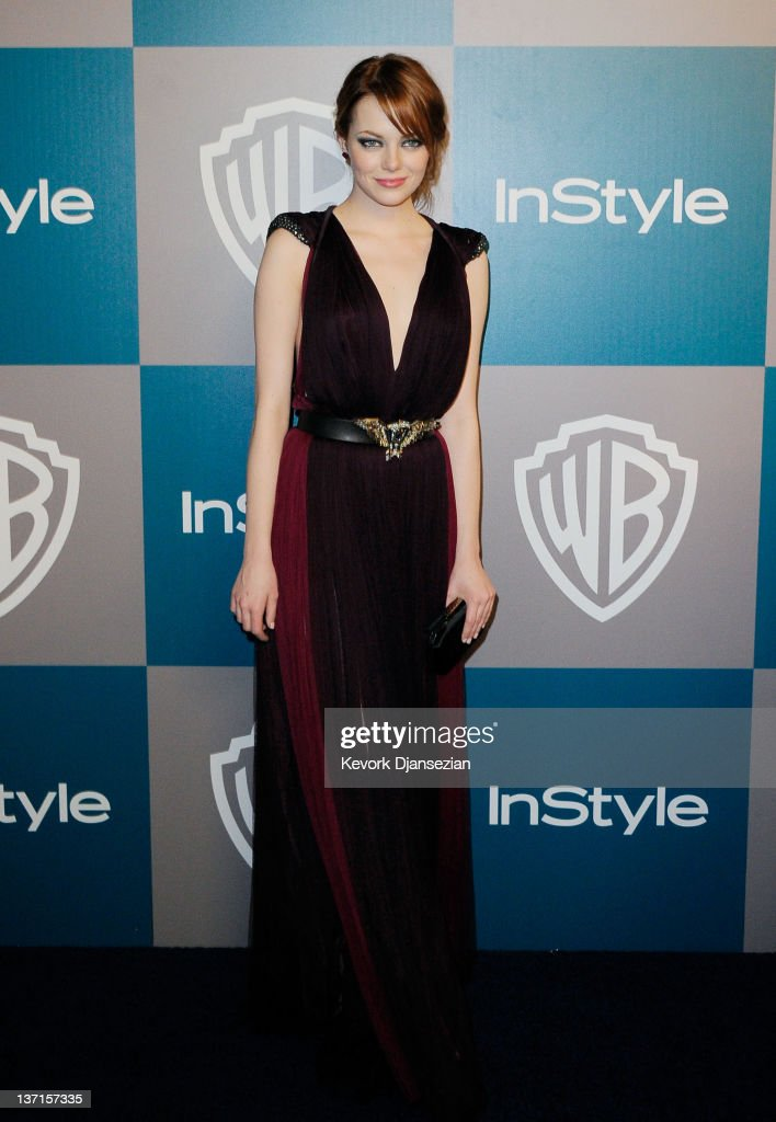 Actress Emma Stone arrives at 13th Annual Warner Bros And InStyle Golden Globe Awards After Party at The Beverly Hilton hotel on January 15 2012 in...