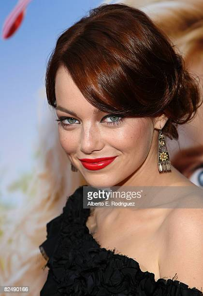 Actress Emma Stone arrives at Columbia Pictures' premiere of 'House Bunny' held at the Mann Village Theater on August 20 2008 in Westwood California