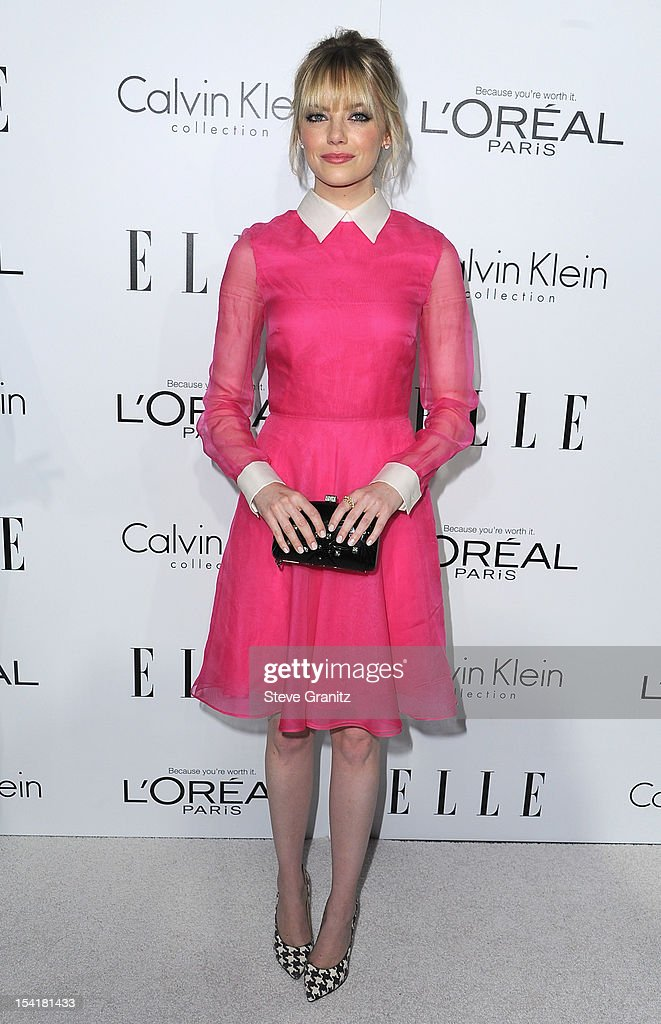 Actress <a gi-track='captionPersonalityLinkClicked' href=/galleries/search?phrase=Emma+Stone&family=editorial&specificpeople=672023 ng-click='$event.stopPropagation()'>Emma Stone</a> arrives at ELLE's 19th Annual Women In Hollywood Celebration at the Four Seasons Hotel on October 15, 2012 in Beverly Hills, California.