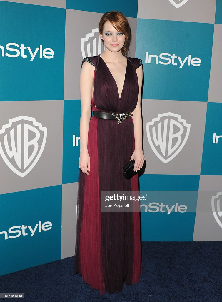 Actress Emma Stone arrives at the 13th Annual Warner Bros And InStyle Golden Globe After Party held at The Beverly Hilton hotel on January 15 2012 in...