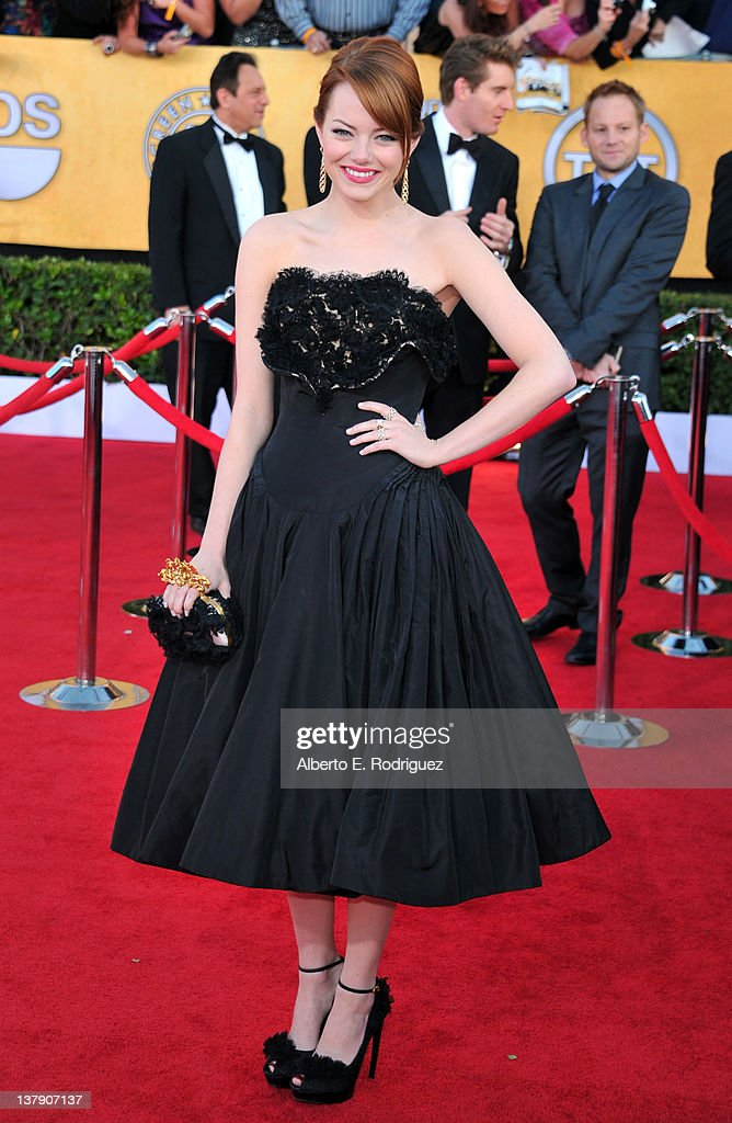 Actress Emma Stone arrives at the 18th Annual Screen Actors Guild Awards at The Shrine Auditorium on January 29 2012 in Los Angeles California