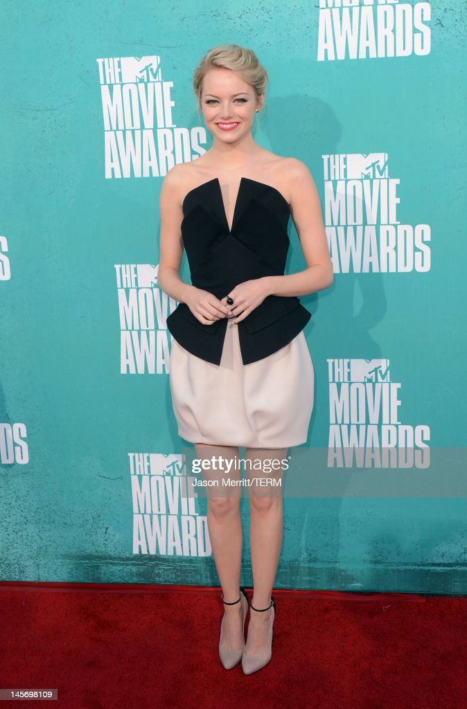 Actress Emma Stone arrives at the 2012 MTV Movie Awards held at Gibson Amphitheatre on June 3, 2012 in Universal City, California.