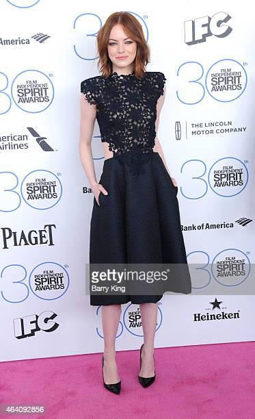 Actress Emma Stone arrives at the 2015 Film Independent Spirit Awards at Santa Monica Beach on February 21 2015 in Santa Monica California