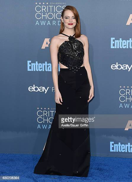 Actress Emma Stone arrives at The 22nd Annual Critics' Choice Awards at Barker Hangar on December 11 2016 in Santa Monica California
