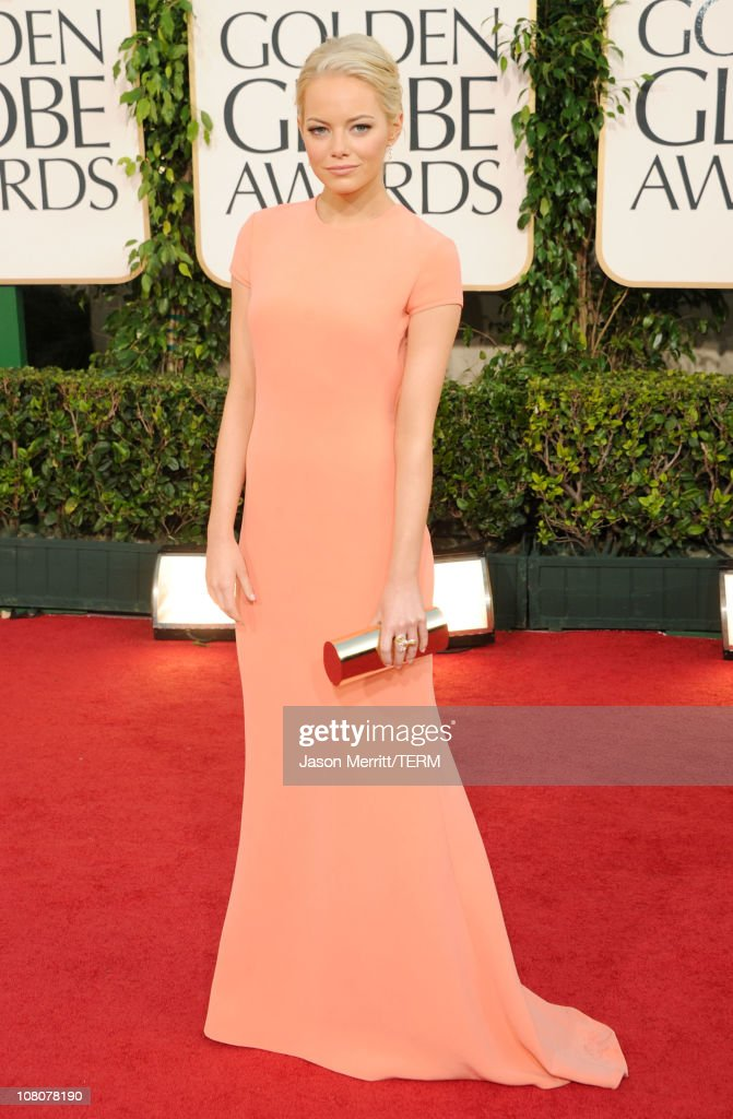Actress <a gi-track='captionPersonalityLinkClicked' href=/galleries/search?phrase=Emma+Stone&family=editorial&specificpeople=672023 ng-click='$event.stopPropagation()'>Emma Stone</a> arrives at the 68th Annual Golden Globe Awards held at The Beverly Hilton hotel on January 16, 2011 in Beverly Hills, California.