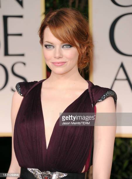 Actress Emma Stone arrives at the 69th Annual Golden Globe Awards held at the Beverly Hilton Hotel on January 15 2012 in Beverly Hills California