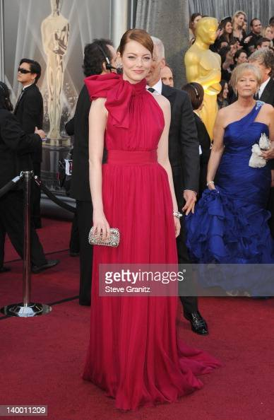 Actress Emma Stone arrives at the 84th Annual Academy Awards held at the Hollywood Highland Center on February 26 2012 in Hollywood California