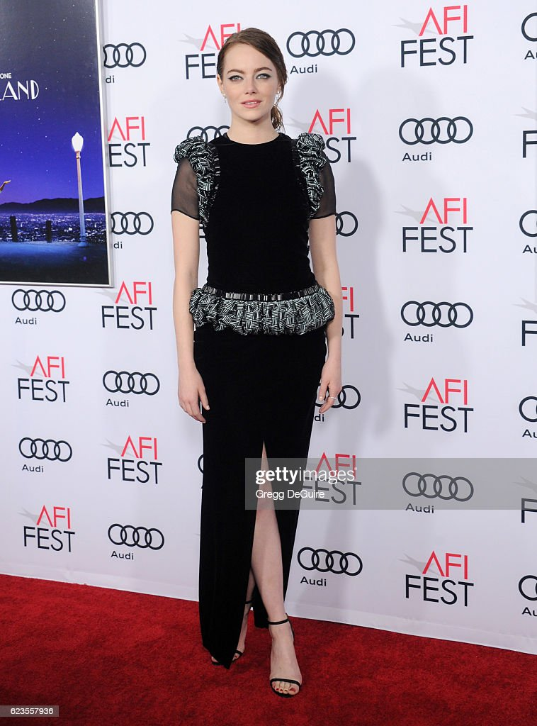 Actress Emma Stone arrives at the AFI FEST 2016 Presented By Audi - Screening Of Lionsgate's 'La La Land' at TCL Chinese Theatre on November 15, 2016 in Hollywood, California.