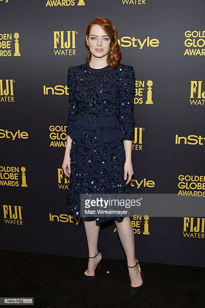 Actress Emma Stone arrives at the Hollywood Foreign Press Association and InStyle celebrate the 2017 Golden Globe Award Season at Catch LA on...