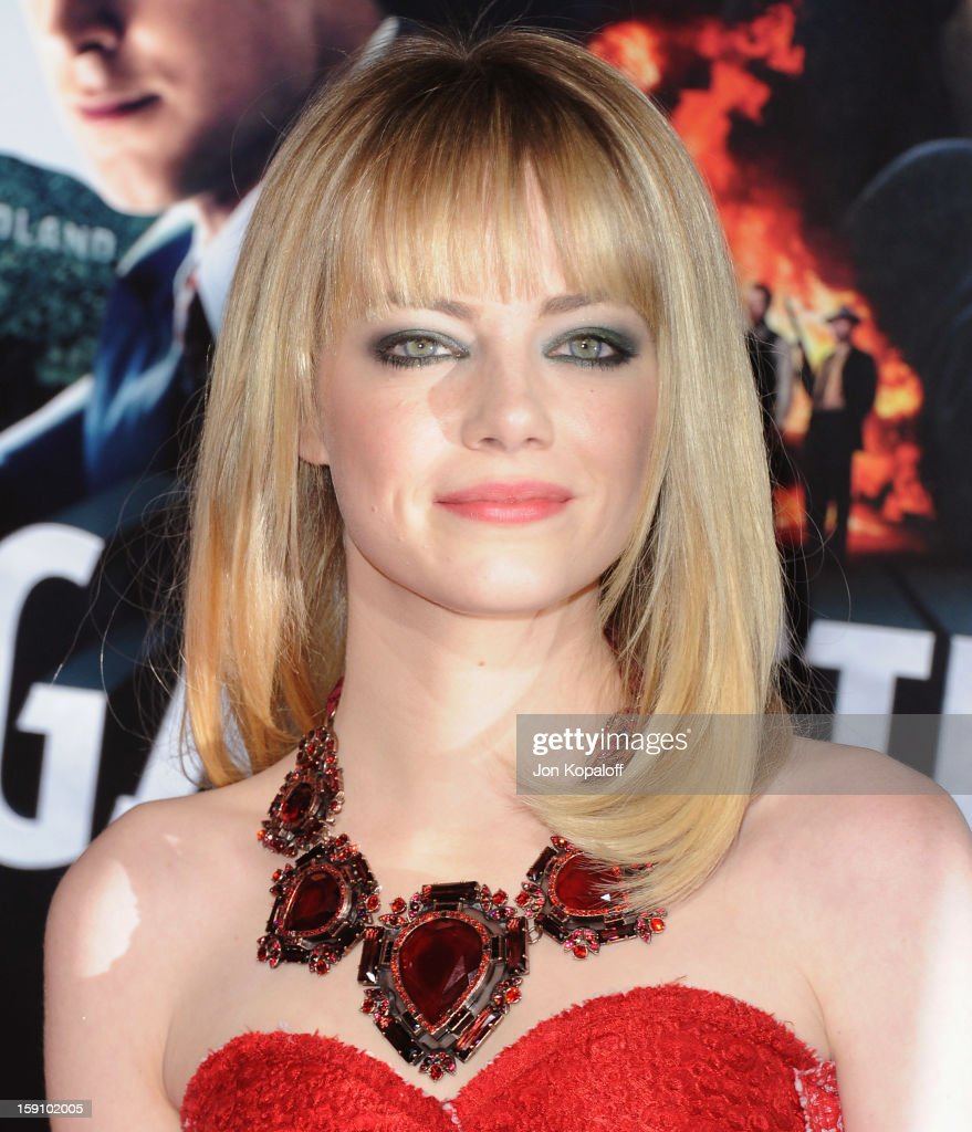 Actress Emma Stone arrives at the Los Angeles Premiere 'Gangster Squad' at Grauman's Chinese Theatre on January 7, 2013 in Hollywood, California.