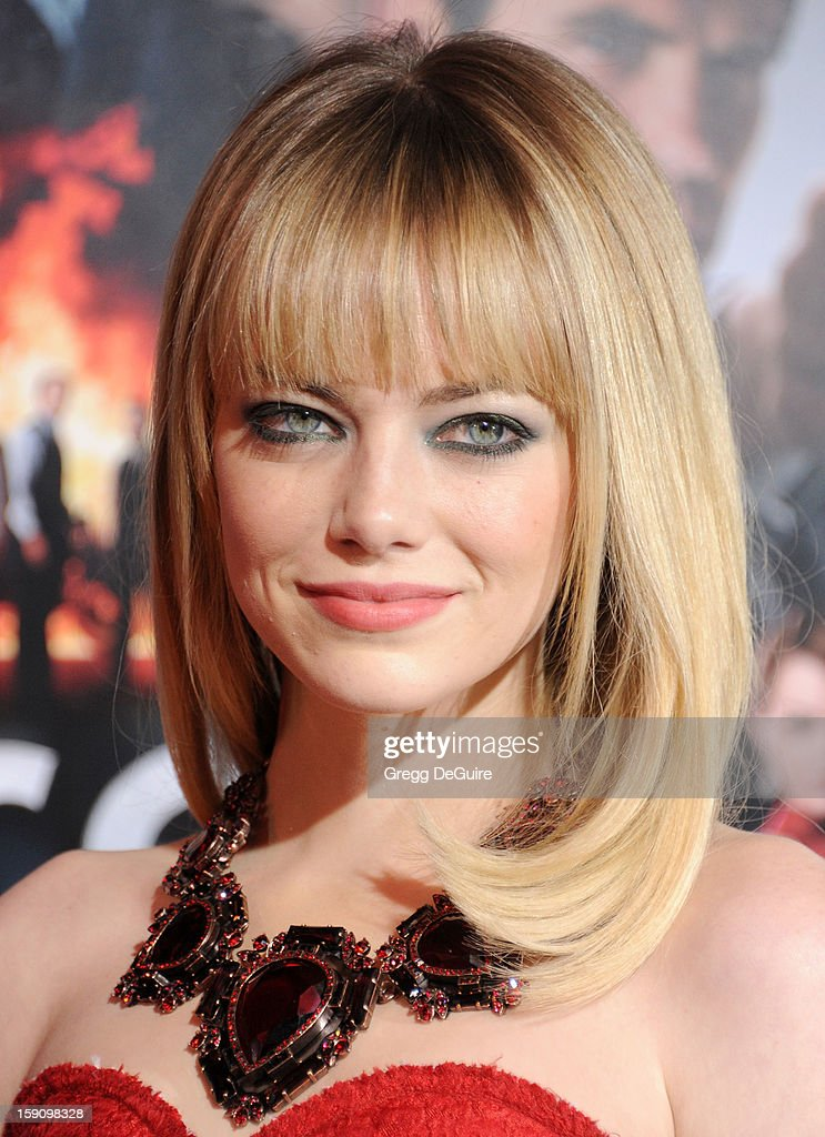 Actress Emma Stone arrives at the Los Angeles premiere of 'Gangster Squad' at Grauman's Chinese Theatre on January 7, 2013 in Hollywood, California.