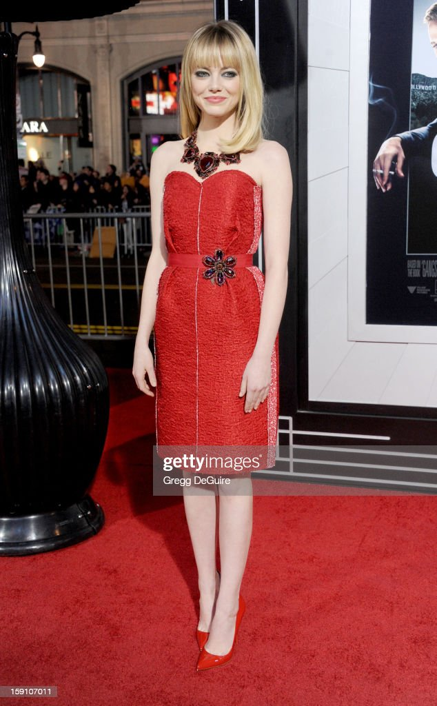 Actress <a gi-track='captionPersonalityLinkClicked' href=/galleries/search?phrase=Emma+Stone&family=editorial&specificpeople=672023 ng-click='$event.stopPropagation()'>Emma Stone</a> arrives at the Los Angeles premiere of 'Gangster Squad' at Grauman's Chinese Theatre on January 7, 2013 in Hollywood, California.