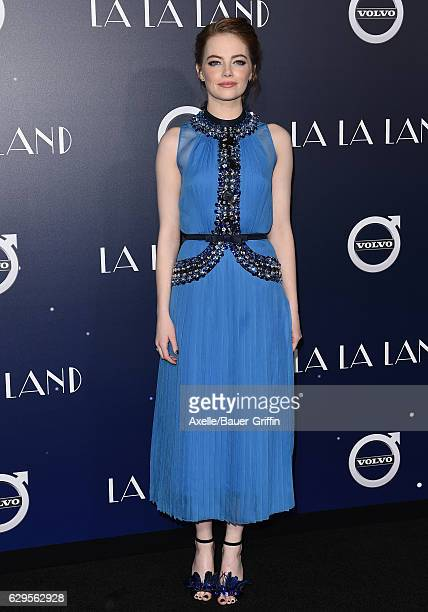 Actress Emma Stone arrives at the Los Angeles premiere of 'La La Land' at Mann Village Theatre on December 6 2016 in Westwood California