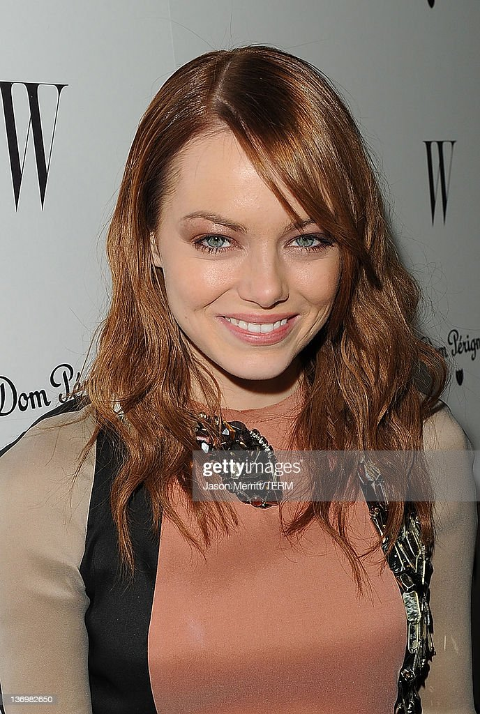 Actress Emma Stone arrives at the W Magazine Best Performances Issue and The Golden Globes celebration hosted by Dom Perignon and W Magazine held at...