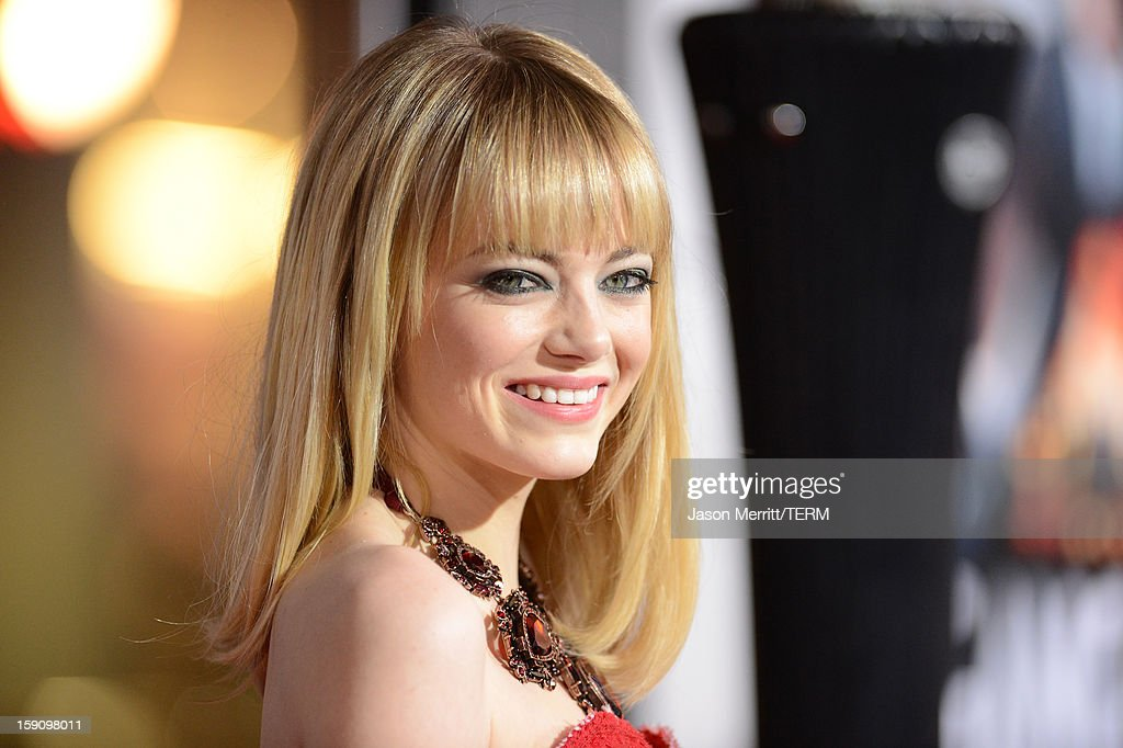 Actress <a gi-track='captionPersonalityLinkClicked' href=/galleries/search?phrase=Emma+Stone&family=editorial&specificpeople=672023 ng-click='$event.stopPropagation()'>Emma Stone</a> arrives at Warner Bros. Pictures' 'Gangster Squad' premiere at Grauman's Chinese Theatre on January 7, 2013 in Hollywood, California.