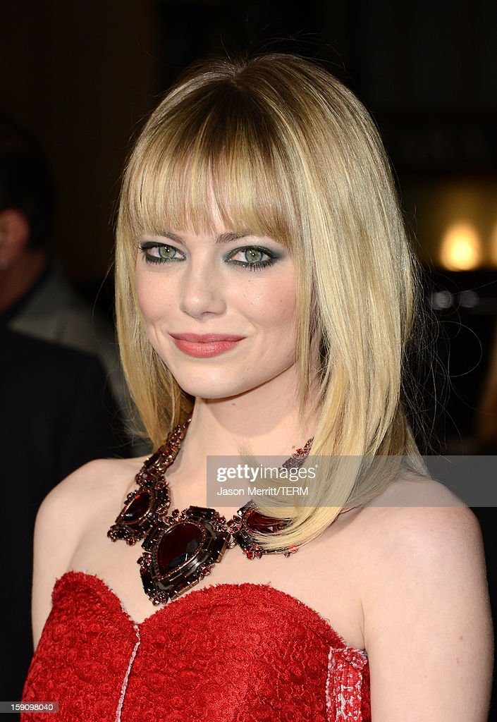 Actress Emma Stone arrives at Warner Bros. Pictures' 'Gangster Squad' premiere at Grauman's Chinese Theatre on January 7, 2013 in Hollywood, California.