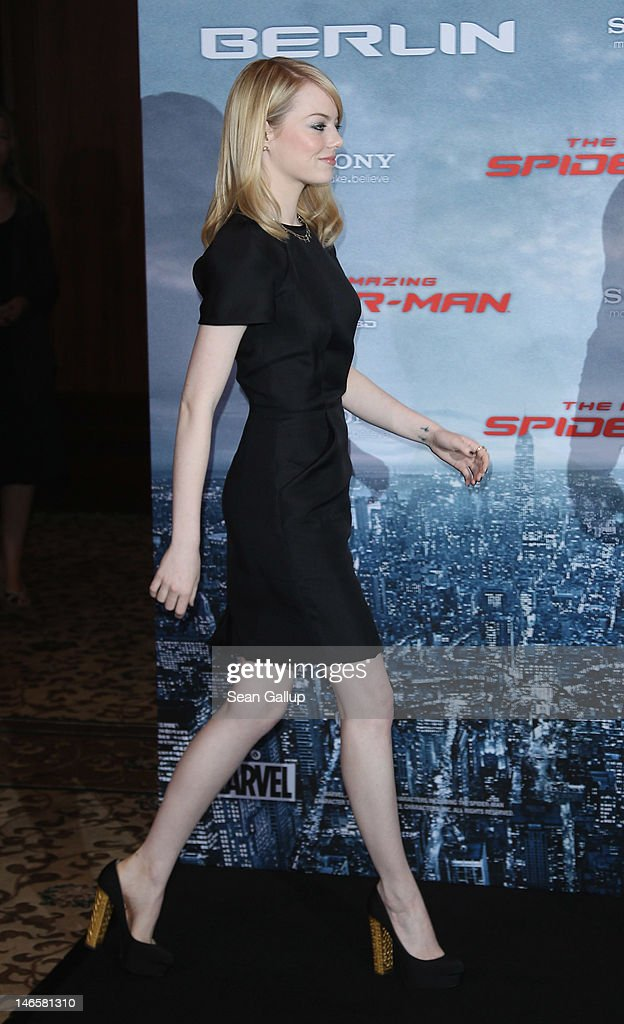 Actress <a gi-track='captionPersonalityLinkClicked' href=/galleries/search?phrase=Emma+Stone&family=editorial&specificpeople=672023 ng-click='$event.stopPropagation()'>Emma Stone</a> arrives for a photocall for 'The Amazing Spider-Man' at the Adlon Hotel on June 20, 2012 in Berlin, Germany.