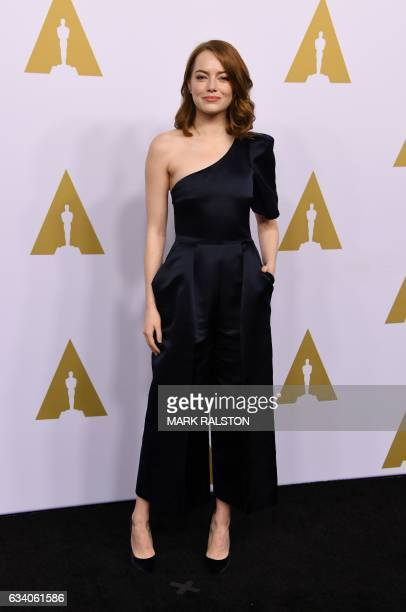 Actress Emma Stone arrives for the 89th Annual Academy Awards Nominee Luncheon at The Beverly Hilton Hotel in Beverly Hills California on February 6...