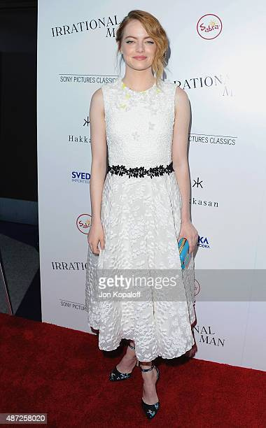 Actress Emma Stone arrives 'Irrational Man' at Writers Guild Awards on July 9 2015 in Los Angeles California