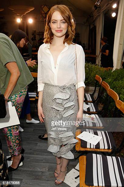 Actress Emma Stone at the CFDA/Vogue Fashion Fund Show and Tea presented by kate spade new york at Chateau Marmont on October 26 2016 in Los Angeles...