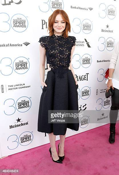Actress Emma Stone attends the 2015 Film Independent Spirit Awards at Santa Monica Beach on February 21 2015 in Santa Monica California