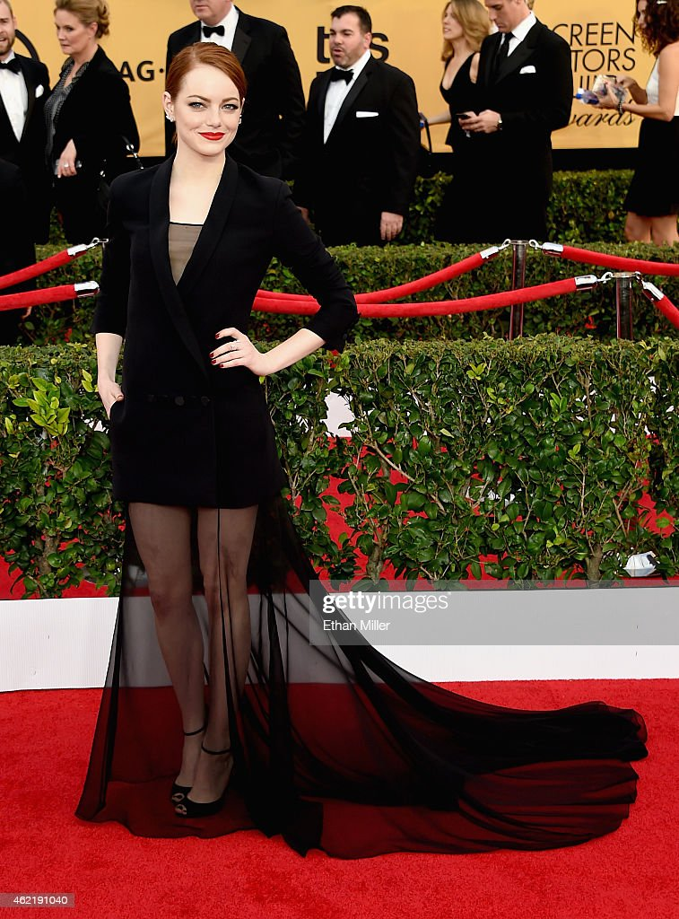 Actress <a gi-track='captionPersonalityLinkClicked' href=/galleries/search?phrase=Emma+Stone&family=editorial&specificpeople=672023 ng-click='$event.stopPropagation()'>Emma Stone</a> attends the 21st Annual Screen Actors Guild Awards at The Shrine Auditorium on January 25, 2015 in Los Angeles, California.