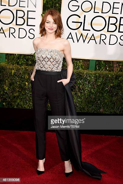 Actress Emma Stone attends the 72nd Annual Golden Globe Awards at The Beverly Hilton Hotel on January 11 2015 in Beverly Hills California
