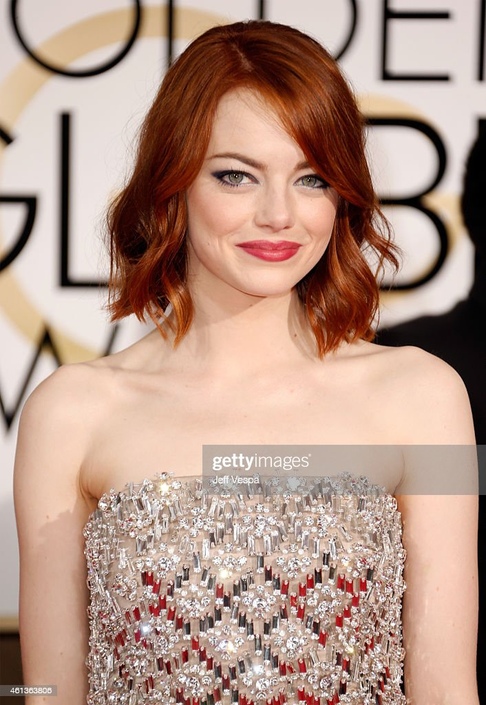 Actress <a gi-track='captionPersonalityLinkClicked' href=/galleries/search?phrase=Emma+Stone&family=editorial&specificpeople=672023 ng-click='$event.stopPropagation()'>Emma Stone</a> attends the 72nd Annual Golden Globe Awards at The Beverly Hilton Hotel on January 11, 2015 in Beverly Hills, California.
