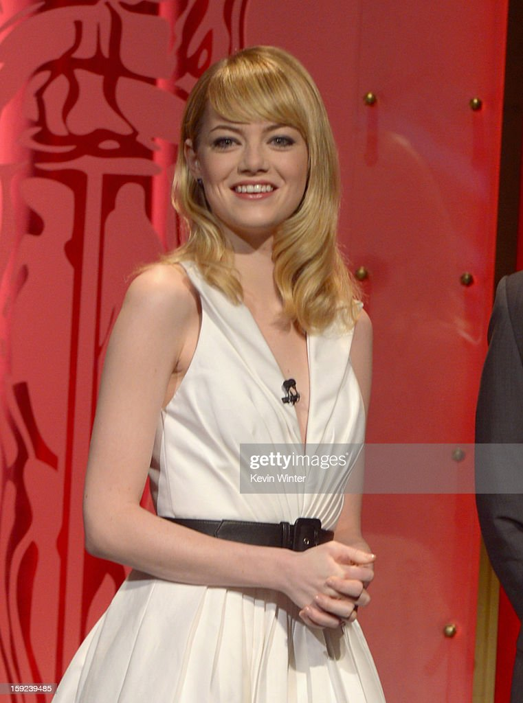 Actress Emma Stone attends the 85th Academy Awards Nominations Announcement at the AMPAS Samuel Goldwyn Theater on January 10, 2013 in Beverly Hills, California.